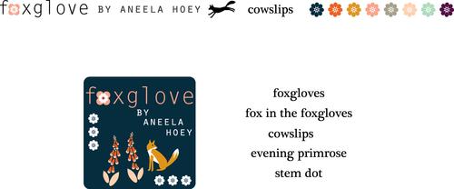 Foxglove selvedge logo print names